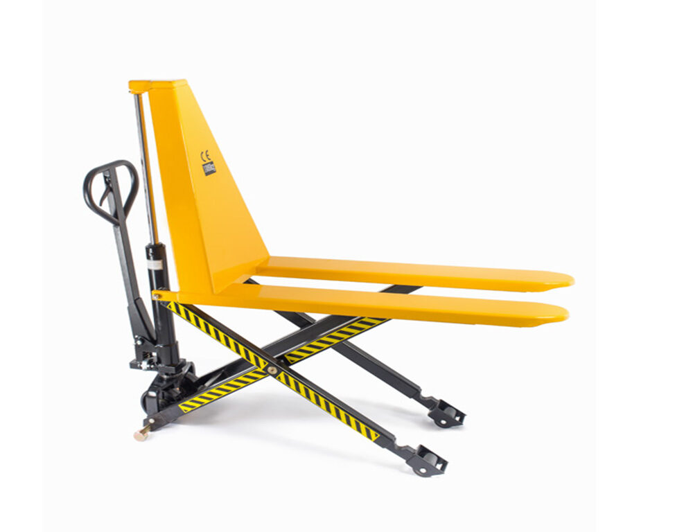 Тележка гидравлическая 1500 кг TOR HLS1500Q с ножничным подъемом (полиуретан.колеса)